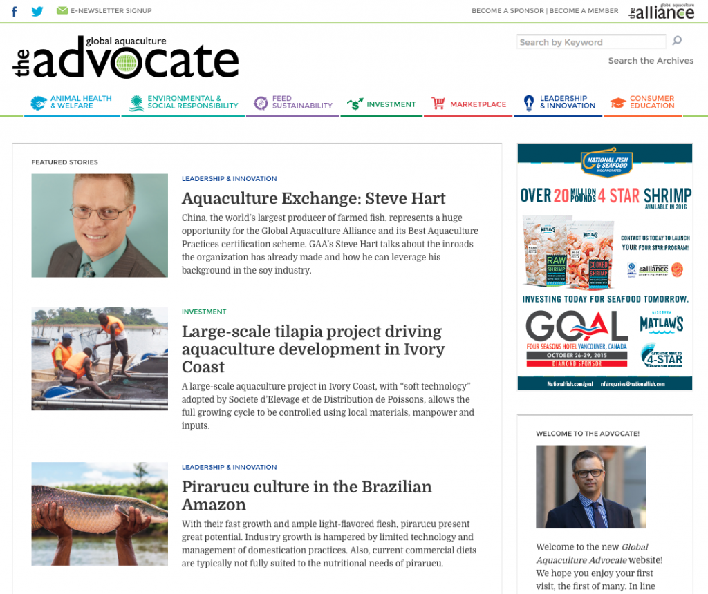 Global Aquaculture Advocate homepage