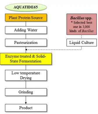 Fig. 1: Steps in the bio-processing manufacturing of the AQUATIDES65 fishmeal replacement product.