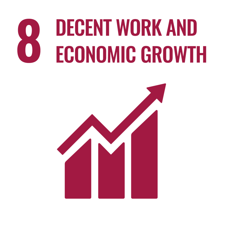 Infographic of SDG 8 - Decent work and economic growth